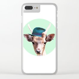 Deer with blue hat Clear iPhone Case