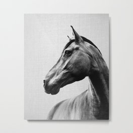 Horses - Black & White 2 Metal Print