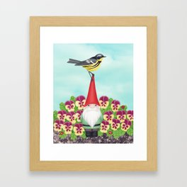 gnome with magnolia warbler and pansies Framed Art Print