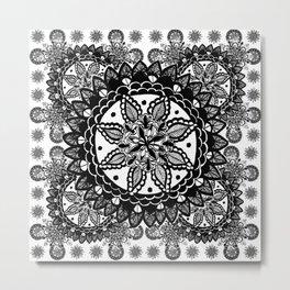 Black and White Chaotic Mandala Pattern Metal Print