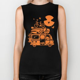 Funny family vacation camper Biker Tank