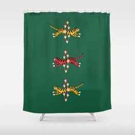 Brave Tiger - Green Shower Curtain