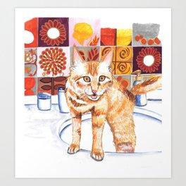Gouache Cat  Art Print