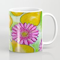 preppy Mugs featuring Preppy Pears & Daisies by Limezinnias Design