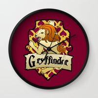 gryffindor Wall Clocks featuring Gryffindor Crest by AriesNamarie