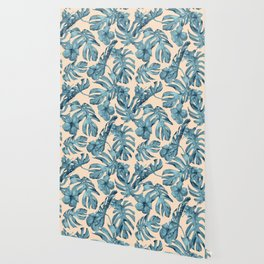Island Vacay Hibiscus Palm Pale Coral Teal Blue Wallpaper