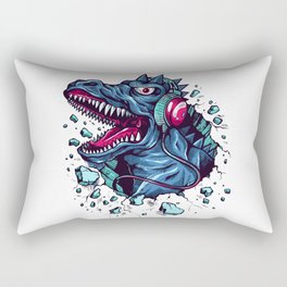 Dino with Headphones BLUE Orient Rectangular Pillow
