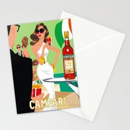 1970 Campari Vintage Cordial Italian Riviera Amalfi Coast Aperitif Advertisement Poster Stationery Cards
