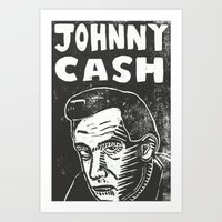 johnny cash Art Prints featuring Johnny Cash by Peter Dunne