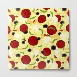 Pizza Toppings Pattern Metal Print