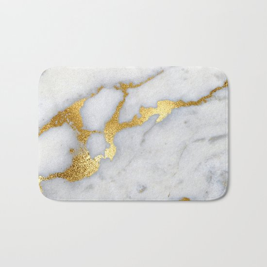 White and Grey Marble and Gold Metal foil Glitter Effect Bath Mat