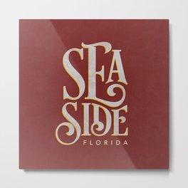 Seaside Typography (Red) Metal Print