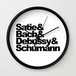 Satie and Bach and Debussy and Schumann, Classical Music Composers, circle Wall Clock