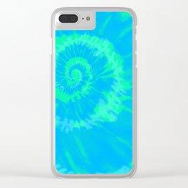 Tie dye neon blue Clear iPhone Case