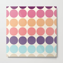 Classic Freehand Vintage Style Retro Dots Metal Print