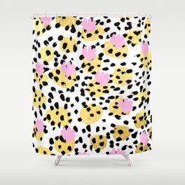Pink Gold abstract painting foil trendy minimal modern art paint pattern gender neutral non binary  Shower Curtain