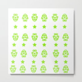Astronauts and Stars in Lime Green Metal Print
