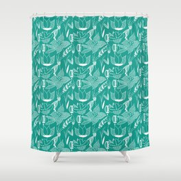 Turquoise floral pattern Shower Curtain