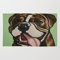 english bulldog Area & Throw Rugs featuring Mike the Old English Bulldog by Cheney Beshara