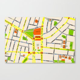 Tel Aviv map design - written in Hebrew Canvas Print
