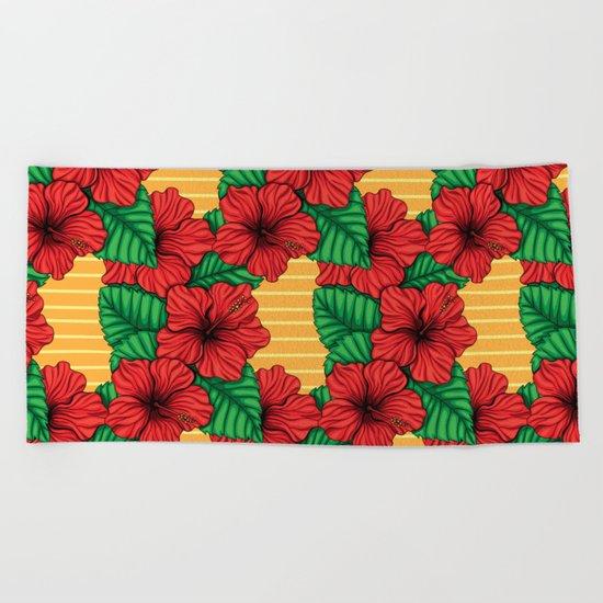 Hibiskcus and leaves, tropical pattern Beach Towel