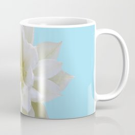 White Clematis with Blue bkdrd Coffee Mug