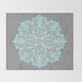Teal and Aqua Lace Mandala on Grey Throw Blanket