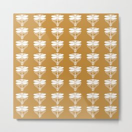 Orange Zest Arts and Crafts Dragonflies Metal Print