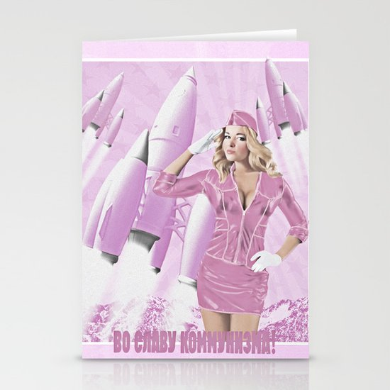 Communism rocks (in pink) Stationery Cards