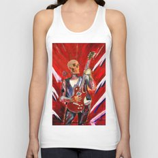 Fantasy art heavy metal skull guitarist Unisex Tank Top