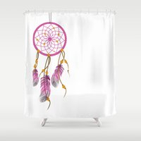 dreamcatcher Shower Curtains featuring Dreamcatcher by Fairytale ink