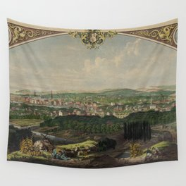 Vintage Pictorial Map of Bridgeport CT (1857) Wall Tapestry