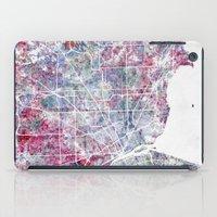detroit iPad Cases featuring Detroit map by MapMapMaps.Watercolors