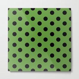 Black & Green Polka Dots Metal Print