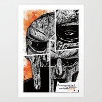 mf doom Art Prints featuring MF Doom by Crooked Octopus