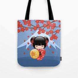 Japanese Red Sakura Kokeshi Doll on Blue Tote Bag