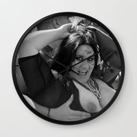 tits Wall Clocks featuring Braille: Tits by Plunder O Poet