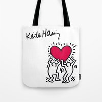 keith haring Tote Bags featuring Keith Allen Haring Shirt by cvrcak