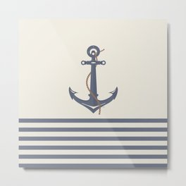AFE Dark Gray Nautical Anchor Metal Print