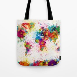 Map of the World Map Paint Splashes Tote Bag