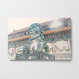 Lion China Beijing Palace artwork Metal Print