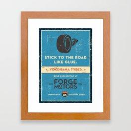 Vintage Car Garage Poster Framed Art Print