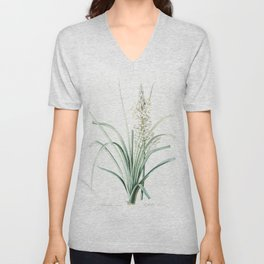 Branched asphodel  from Les liliacees (1805) by Pierre Joseph Redoute (1759-1840) Unisex V-Neck