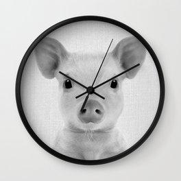 Piglet - Black & White Wall Clock