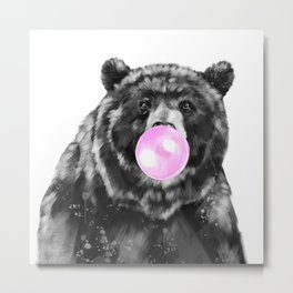 Bubble Gum Big Bear Black and White Metal Print