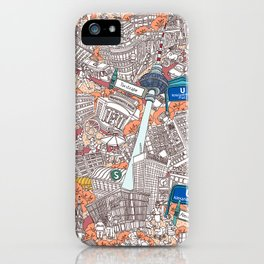 Illustrated map of Berlin-Mitte. Red iPhone Case