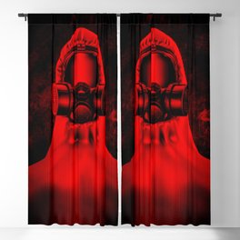 Toxic environment RED / Halftone hazmat dude Blackout Curtain