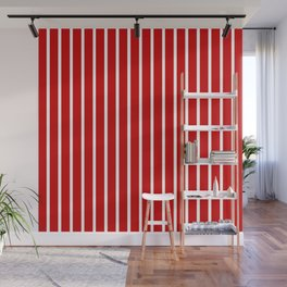 Red and White Vertical Stripes Pattern Wall Mural