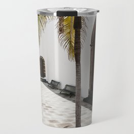 Palm tree growing in the street. La Palma, Canary Island. Travel Mug