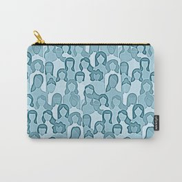 Together Strong - Women Power Watercolor Teal Blue Carry-All Pouch